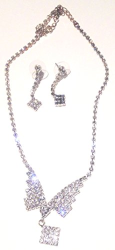 - Genuine Silver Plated Short Chain Necklace Sparkling Crystals and Earrings