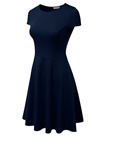 Doublju Extensible Évasé Femmes Robe Patineuse Midi Taille Plus (made In Usa) Awdsd0693_navy