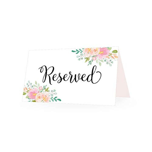 25 Pink Floral VIP Reserved Sign Tent Place Cards for Table at Restaurant, Wedding Reception, Church, Business Office Board Meeting, Holiday Christmas Party, Printed Seating Reservation Accessories