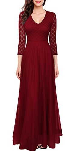 FORTRIC Women 3/4 Sleeves Top Lace See-Through Back Wedding Maxi Bridesmaid Long Dress Burgundy XL