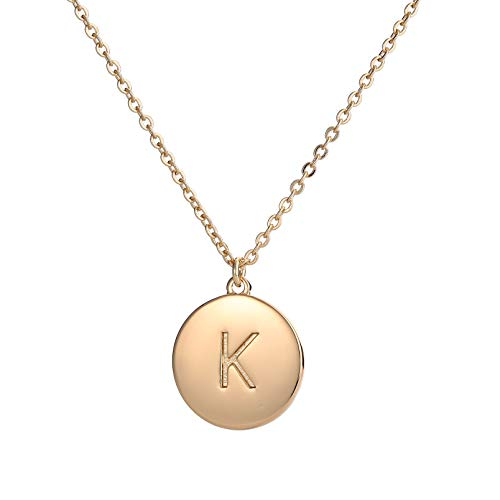 Youthway Copper Initial Necklace Women 26 Letters Disc Monogram Chain Necklace Jewelry Gift Her (Monogram Jewelry Necklace)