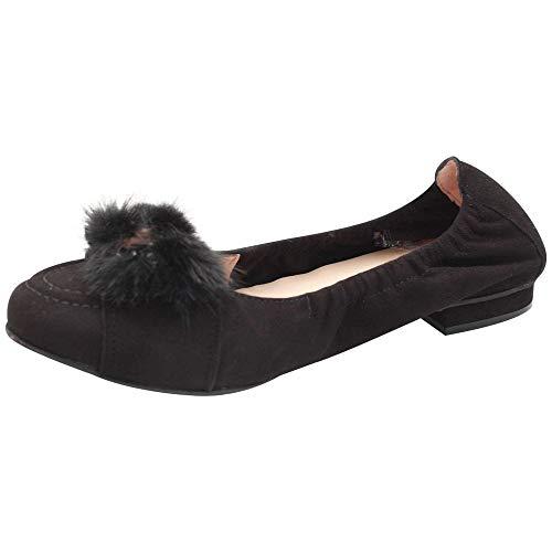 Fur Faux Trim Black With Ballet Flat Perlato Suede wFxq7vRX