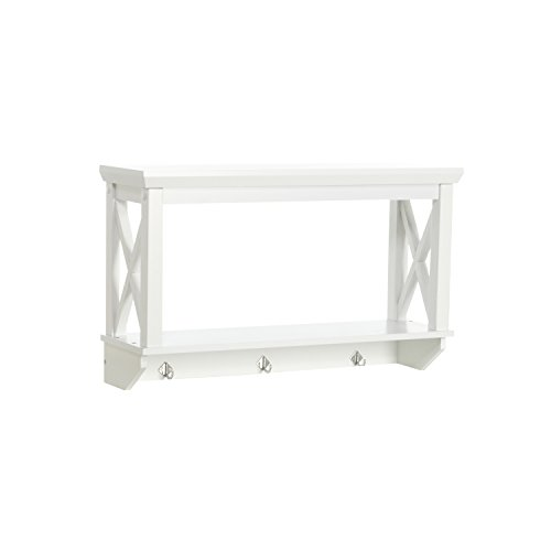 RiverRidge X-Frame Collection Bathroom Wall Shelf with Hooks, White (White Floating Bathroom Shelves)