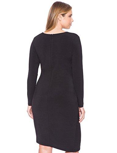 Damen Cocktailkleid schicker Schnitt auch in Plus Size, Kleid Langarm mit feiner Verarbeitung aus Lycra, Cocktail/Abend - bis Größe 62 auch in Übergröße
