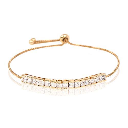 RIAH FASHION Sparkly Crystal Rhinestone Cubic Zirconia Bridal Bracelet - Pave Wedding Statement Cuff Bangle Adjustable Wrist Slide Tennis Bolo/Pearl Wrap Stack (Baguette Cut - Gold)