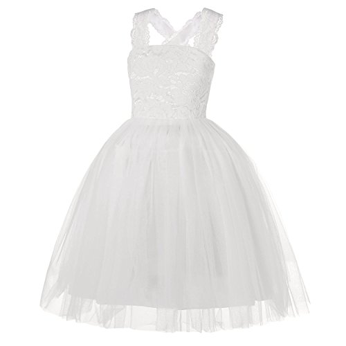 Molliya Wedding Flower Girl Dress Lace Crossed Back Tulle Fluffy Dress for Party(White,10)