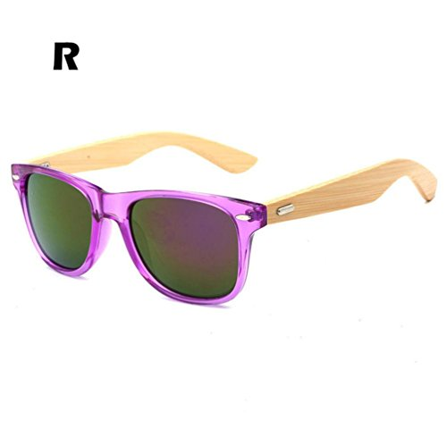 Leewa Wooden Bamboo Sunglasses Mens Womens Retro Vintage Summer Glasses - Type R Sunglasses