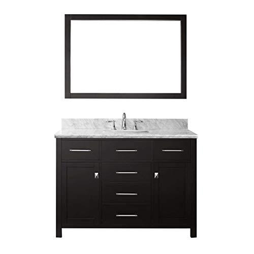 Vanity Espresso Single Basin (Virtu USA Caroline 48 inch Single Sink Bathroom Vanity Set in Espresso w/ Square Undermount Sink, Italian Carrara White Marble Countertop, No Faucet, 1 Mirror - MS-2048-WMSQ-ES)