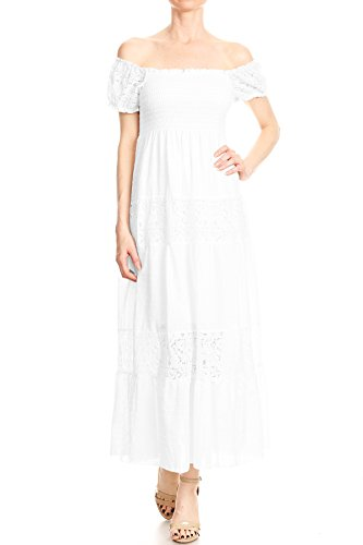 Anna-Kaci Womens Off Shoulder Boho Lace Semi Sheer Smocked Maxi Long Dress, White, Large (Cotton White Summer Dress)