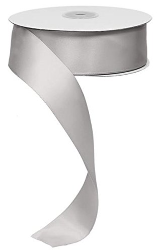 """1.5"""" Double Face Satin Ribbon, No Wire - 50 Yards (Silver)"""