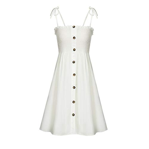 Toimothcn Womens Stretch Bandage Dress Solid Color Casual Button Dresses Sundress(White,M)