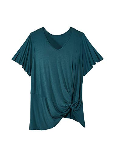 East Adeline Plus Size Jasmine V-Neck - Short Flutter Sleeve Top with Side Twist Knot - Flowy & Lightweight for Spring, Summer, Fall (Dark Teal, 0X)