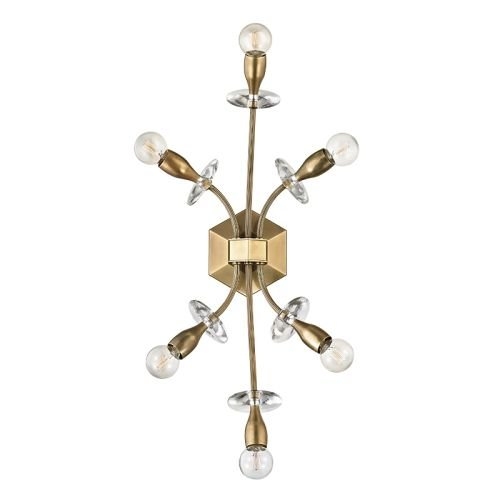 Sconce Crystal Bellacor (Alexandria 6-Light Wall Sconce - Aged Brass Finish)