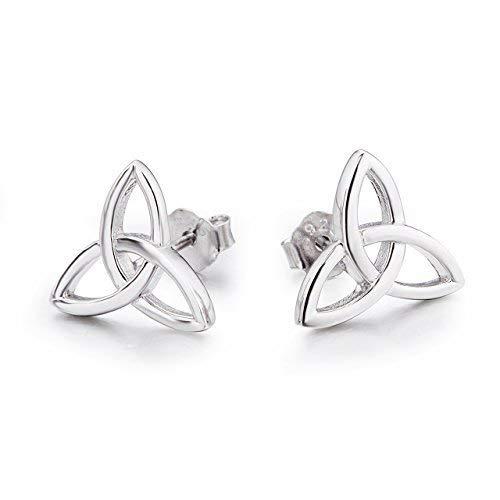 (Celtic Stud Earrings Sterling Silver Hypoallergenic Celtics Jewelry Triquetra Knot Earrings Studs for Women Teen Girls)