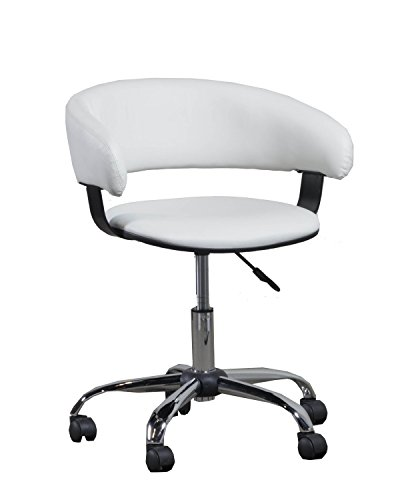 Powell 14B2010W Gas Lift Desk Chair, White (Powell Upholstered Chair)