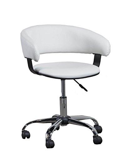 (Powell 14B2010W Gas Lift Desk Chair, White)