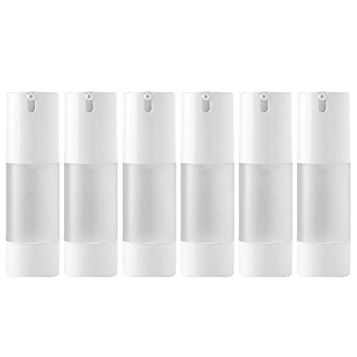 DLIBUY (Pack of 6) 30ML Empty Refillable Dispensers Plastic Vacuum Pump Press Bottles-Airless Containers For Lotion Foundation Essential Oil Moisturizer Gel Mask Cleanser ()