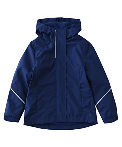 (Hiheart Girls Windproof Fleece Lined Jackets with Hood Waterproof Windbreaker Navy 7/8)