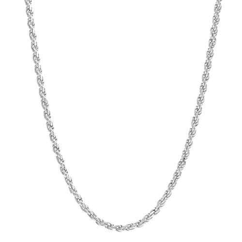 Verona Jewelers Sterling Silver Diamond-Cut Rope Chain Necklace 2MM, 2.5MM, 3MM- 925 Braided Twist Italian Necklace (17, -