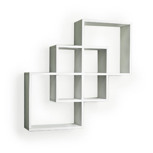 Danya B. FF6013W Decorative Contemporary Floating Intersecting Square Cube Wall Shelves-White