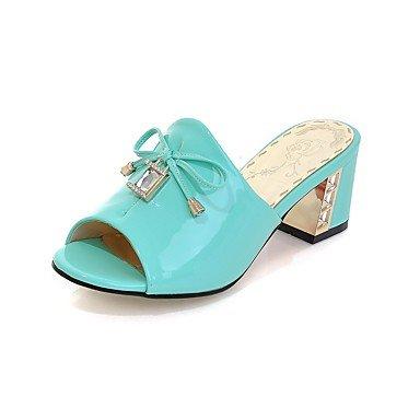 LvYuan Mujer-Tacón Robusto-Confort-Sandalias-Vestido Informal Fiesta y Noche-Cuero Patentado-Azul Blanco Blue