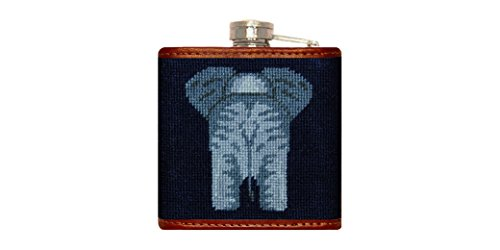 Smathers & Branson Elephant Needlepoint Flask (Flask-79) (Needlepoint Flask)