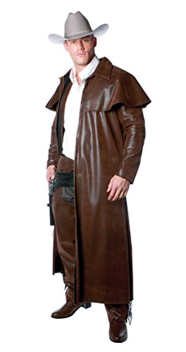 (Largemouth Men's Old Western Cowboy Duster Coat Brown (One Size)