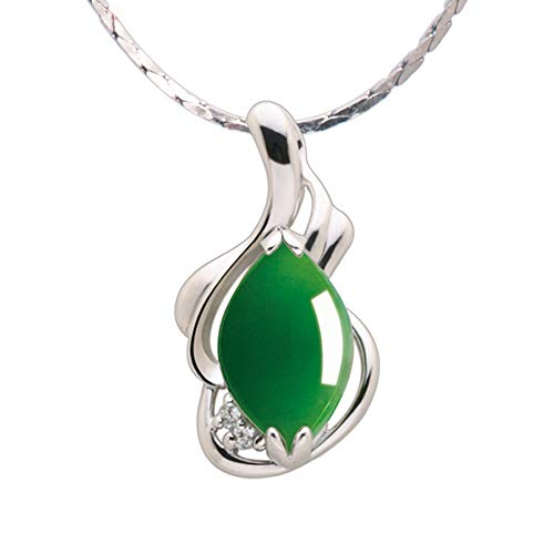 iSTONE Gemstone Green Jasper 925 Sterling Silver Necklace 18 inch Chain