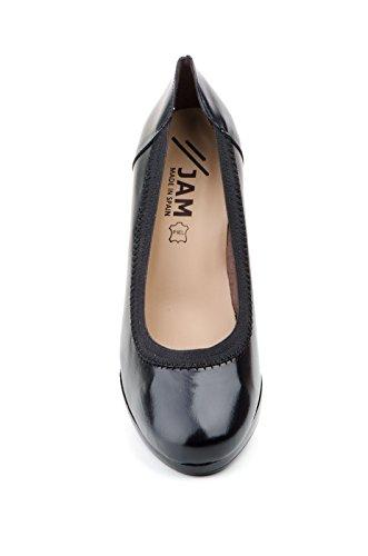 Conbuenpie by Jam - Zapato con plataforma elasticos piel mujer color Negro