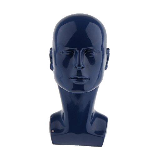 MagiDeal 13'' Tall Plastic Male Mannequin Glossy Manikin Head Glasses Caps Wigs Jewelry Headphone Display Stand Dark Blue