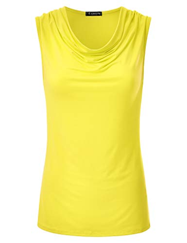 EIMIN Women's Cowl Neck Ruched Draped Sleeveless Stretchy Blouse Tank Top Yellow - Sleeveless Shirt Embroidered
