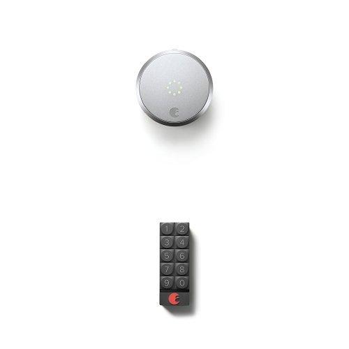August Smart Lock HomeKit Enabled (Silver) with August Smart Keypad, Dark Gray