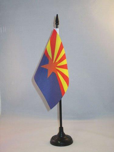 AZ FLAG Arizona Table Flag 4'' x 6'' - US State of Arizona Desk Flag 15 x 10 cm - Black Plastic Stick and Base