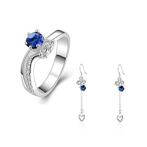 1/2 Ct Heart Cut Loose Diamond (AmDxD Jewelry Silver Plated Women Jewelry Sets Blue and White CZ Heart Shape Earrings Rings Size)