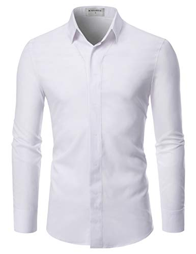 (NEARKIN (NKNKS650 Super Stretchy Hide Button Point Wrinkle Free Dress Shirts White US XL(Tag Size XL))