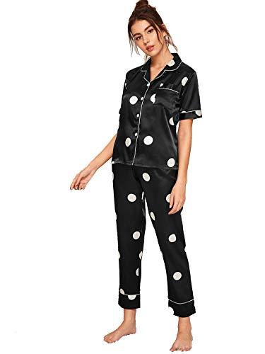 - Milumia Women's Short Sleeve Polka Dot Pajamas Set Nightwear Loungewear Black Medium