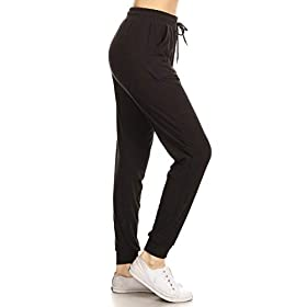 Leggings Depot Womens Printed Solid Activewear Jogger Track Cuff Sweatpants Inner Pockets