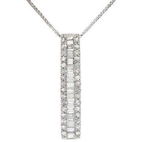 - 1/2 Carat White Round and Baguette Natural Diamond 925 Silver Vertical Bar Pendants Necklace (G-H Color,0.50 Cttw)