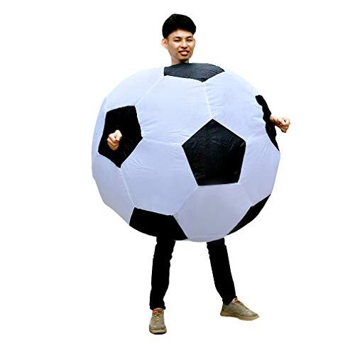 SIREN SUE Inflatable Soccer Football Costume Halloween Funny Blow up Foot Ball Cosplay Suits for Adult Black and White -