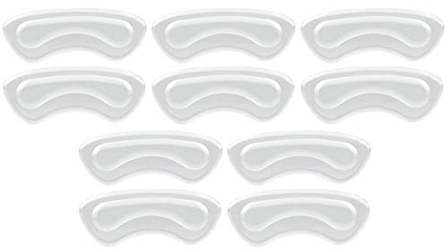 NaCare Gel Heel Grips Pads Shoe Cushion Insert Liners, 10PCS, Clear ()