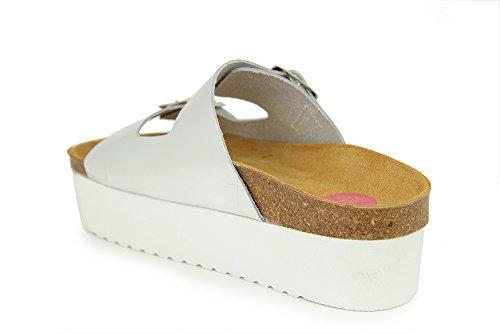Sandalia Plataforma En Piel Plata PLATA