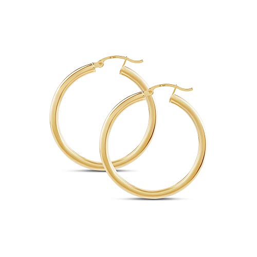 14k Yellow Gold Classic Shiny Polished Round Hoop Earrings for Women, 3mm tube 3 Mm Thick Tube