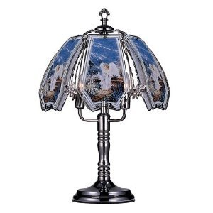 Glass Little Guardian Angel Theme Black Chrome Base Touch Lamp 23.5''h