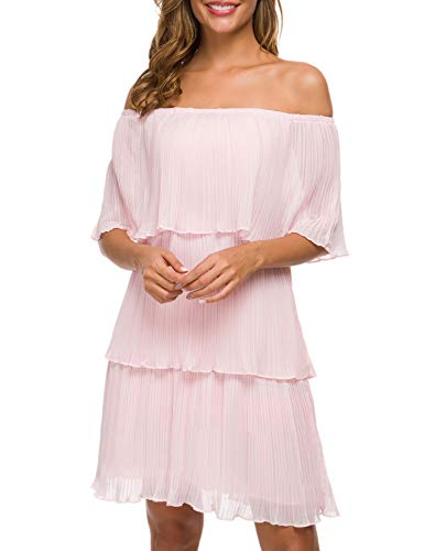 Women's Off The Shoulder Midi Layered Ruffles Summer Loose Casual Chiffon Party Beach Dress(Real Shooting) (Pink, S)