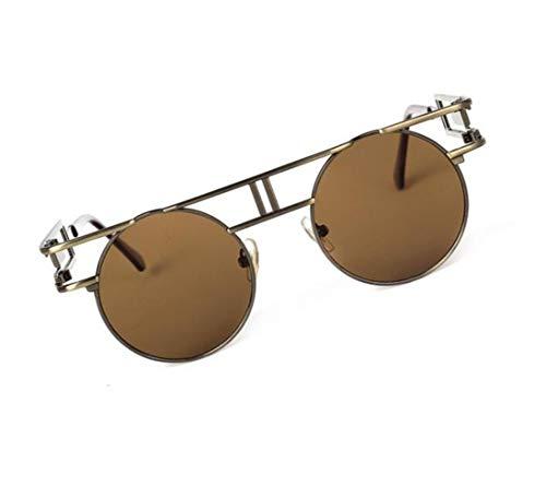 Light hommes classique Huyizhi la protection la de Cool de soleil conduite de clairs lunettes encadrent cadre protection Brown rond UV400 bruns de voyager lunettes Les wwg0qE