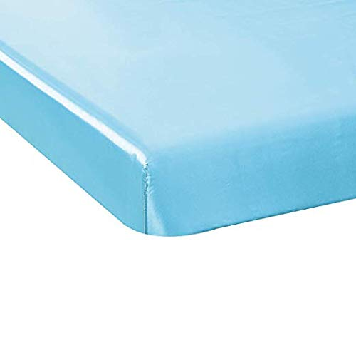 California Drapes Soft & Silky Satin Crib Fitted Sheet, Great for Babies with Sensitive Hair, Fully Elastic All Around for A Secure Fit (Light Blue)