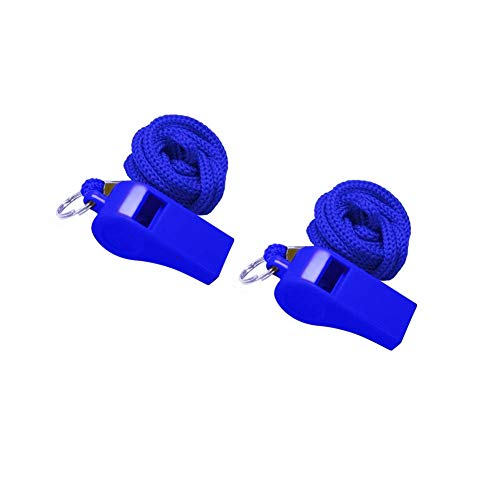 Golvery Coaches Referee Whistle with Lanyard, Blue Plastic Whistles for School Sports, Soccer, Football, Basketball and Lifeguard, Survival Emergency Dog Training ()