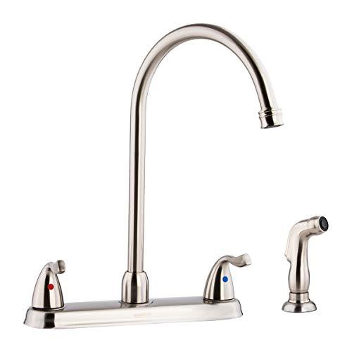 AmazonBasics Two-Handle High-Arc Kitchen Faucet, Satin Nickel - Kitchen Faucet Lavatory