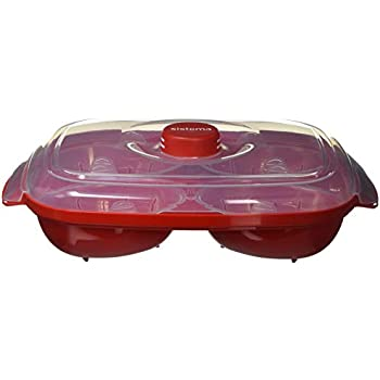 Sistema Microwave Poacher for up to 4 Eggs, Red/Clear, 28.7 x 20.5 x 8.4 cm