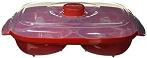 (Egg Poacher) - Sistema Microwave Poacher for up to 4 Eggs, Red/Clear, 28.7 x 20.5 x 8.4 cm
